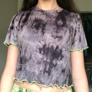 Tie dye grey and black crop top with neon yellow